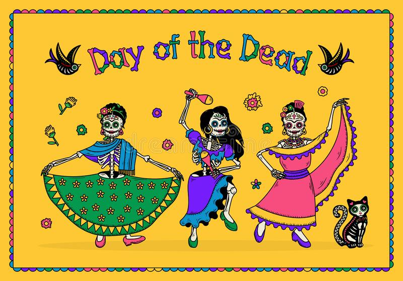 Day of the Dead Dia de los Muertos. The Skeleton Women Dancers. Vector Illustration. royalty free illustration