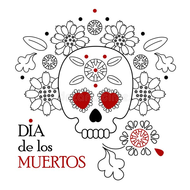 Day of the dead, Dia de los muertos white background, banner and greeting card concept with sugar skull or calavera. Flowers and text vector illustration