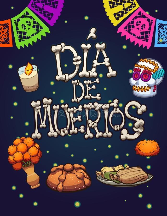 Day of the dead elements vector illustration