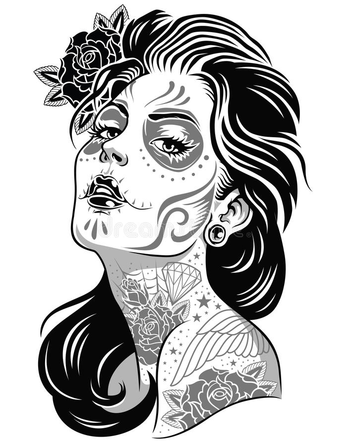 Day of dead girl black and white illustration stock illustration