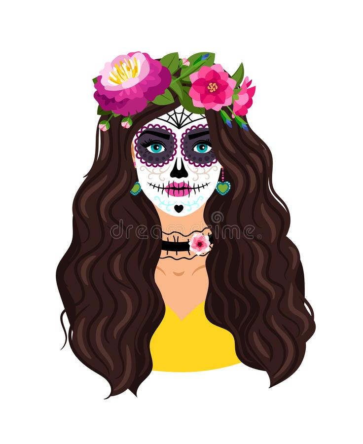 Day of the dead girl. Woman sugar head makeup for mexican party on dia de los muertos, dead skull female face vector illustration for spooky halloween festival stock illustration