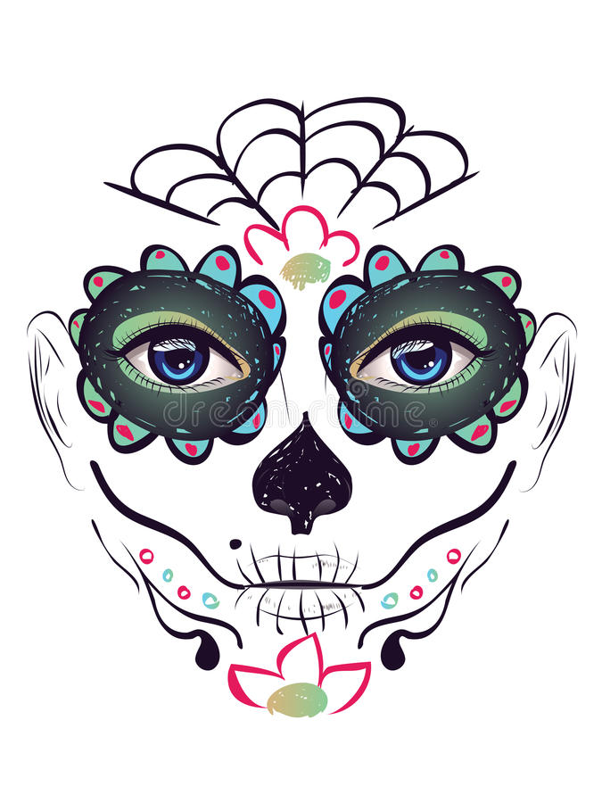 Day of Dead Girl Face royalty free illustration