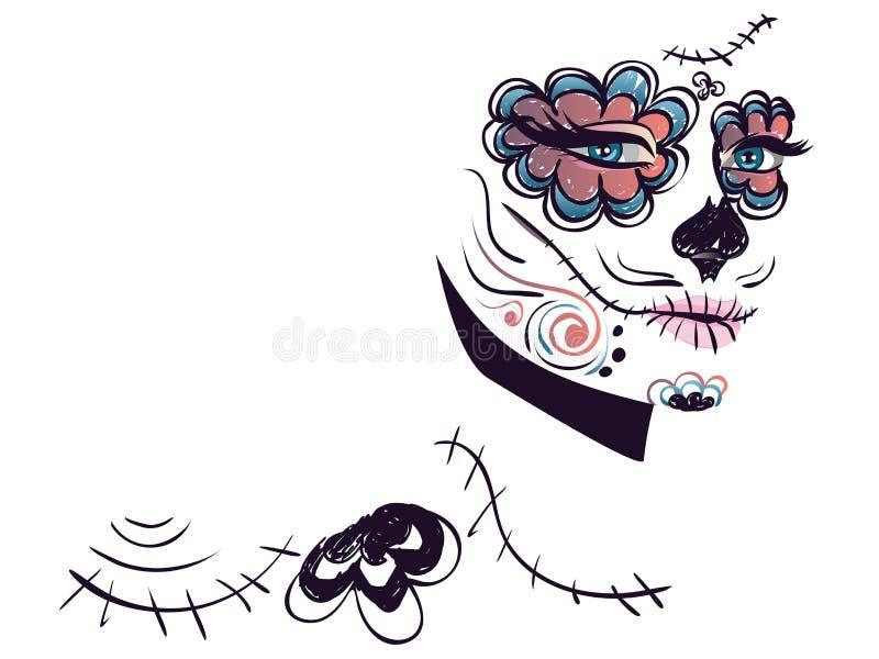 Day of Dead Girl Face stock illustration