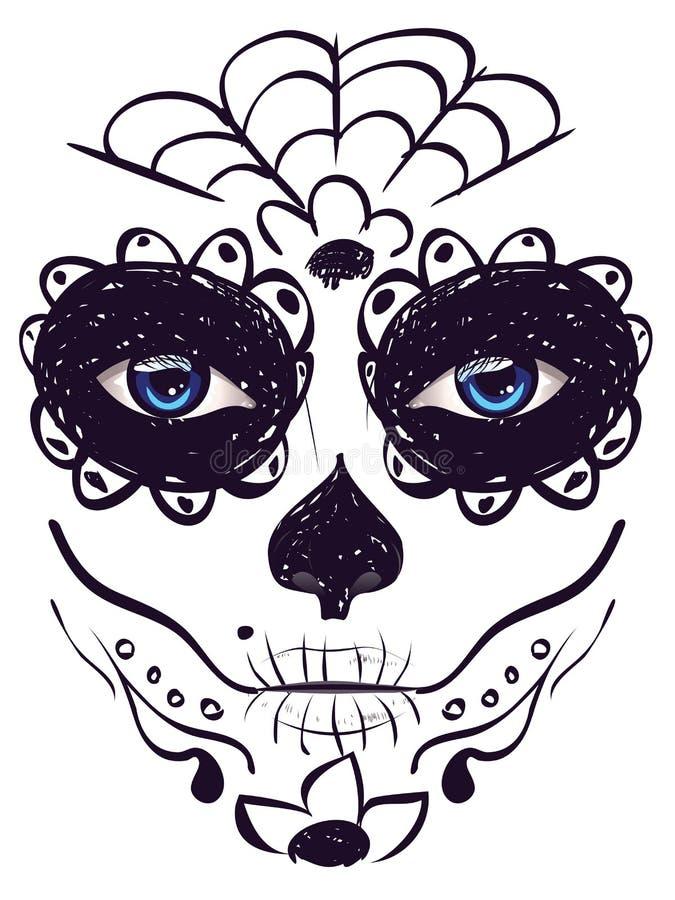 Day of Dead Girl Face vector illustration