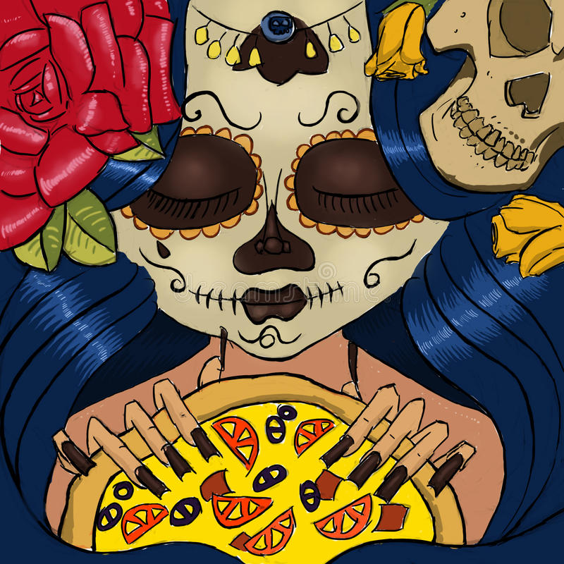 Day of the dead girl with pizza stock images