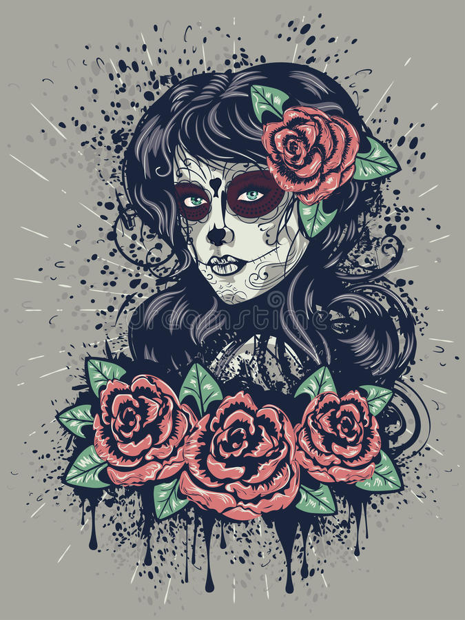 Day of Dead Girl stock vector. Illustration of woman ...