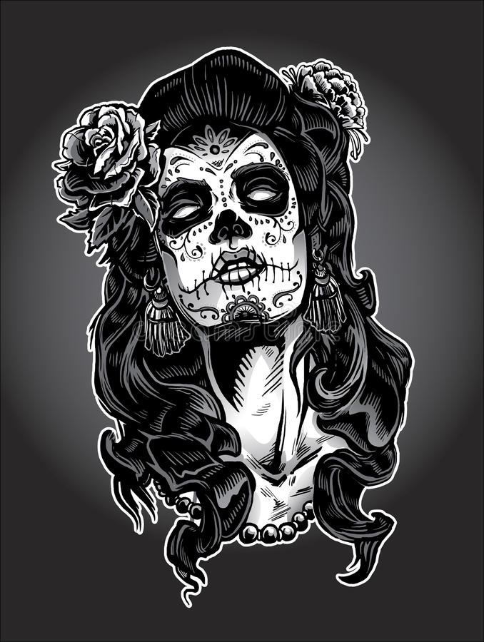 Day of the Dead woman with Sugar Skull Face Paint stock illustration