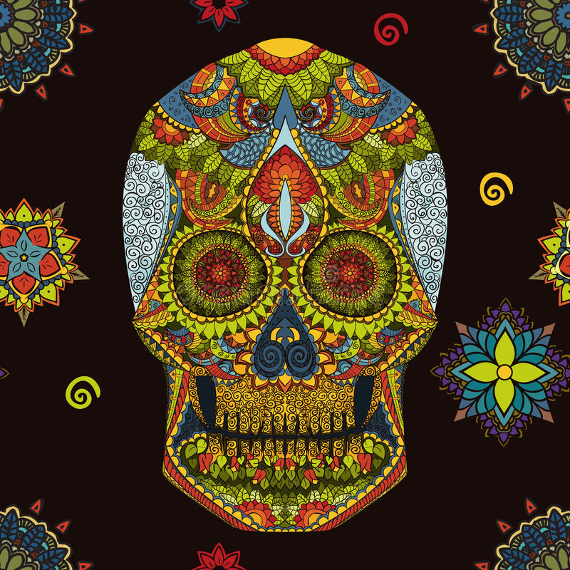 Day Of The Dead. Hand Drawn Skull ornamentrd vector flowers stock image