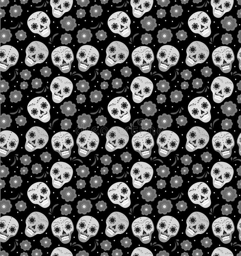 Day of the dead holiday in Mexico seamless pattern with sugar skulls. Skeleton endless background. Dia de Muertos royalty free illustration