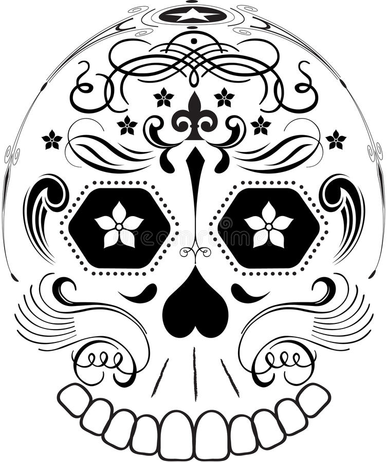 Download Day Of The Dead Line Art Sugar Skull Stock Vector - Image: 19549170