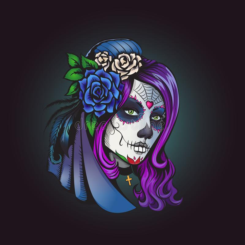 Day of dead make-up girl illustration royalty free stock images