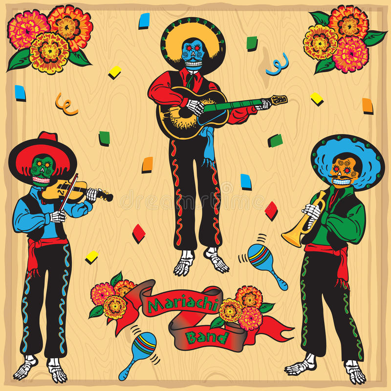 Day of the Dead Mariachi Band. Colorful Day of the dead Mariachi Band on a faded wood background royalty free illustration