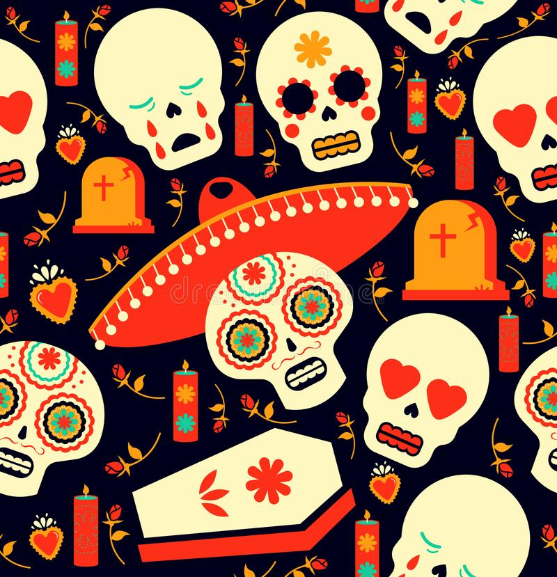 Download Day Of The Dead Mariachi Skull Emoji Background Stock Vector