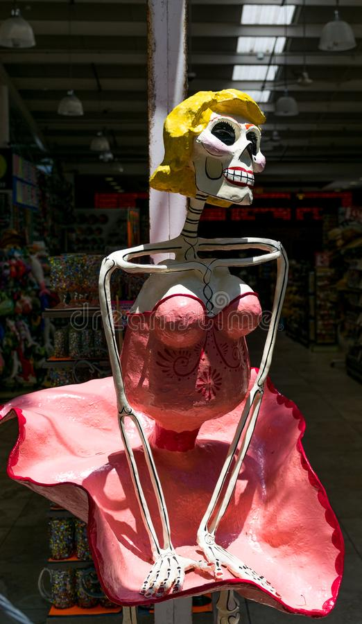 Day of the Dead Marilyn Monroe Skeleton on 5th Avenue in Playa Del Carmen, Mexico stock images