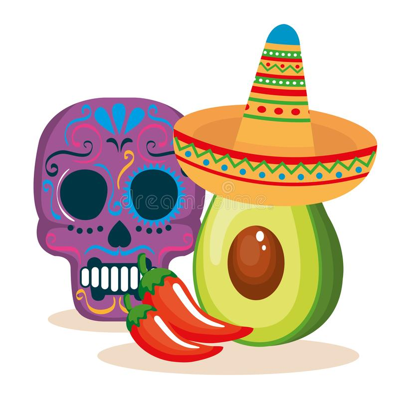 Day of the dead mask with mexican food vector illustration