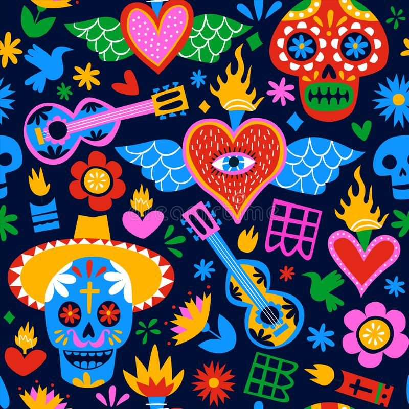 Day of the dead mexican cartoon background pattern stock illustration