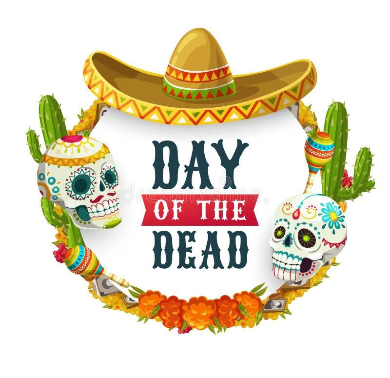 Day of Dead Mexican catrina calavera in sombrero. Dia de los Muertos, Mexican Day of Dead fiesta party poster. Vector Day of Dead holiday in Mexico, catrina vector illustration