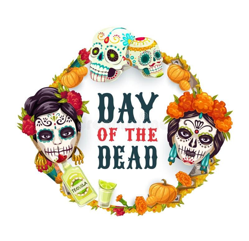 Day of Dead Mexican catrina calavera woman skull. Dia de los Muertos, Day of Dead Mexican fiesta party, woman catrina calavera skull in marigold flowers wreath stock illustration