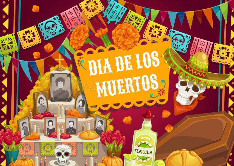 Day of Dead Mexican Dia de los muertos altar photo vector illustration