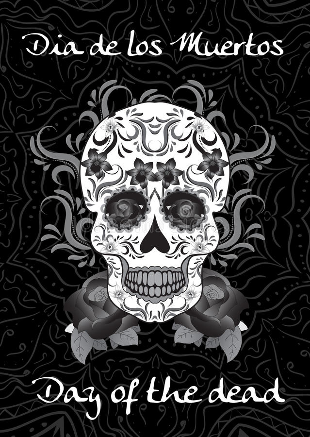 Day of the Dead, a Mexican festival. Dia de los Muertos. Greeting card, flyer, poster Day of the Dead. Sugar skull. Vector royalty free illustration