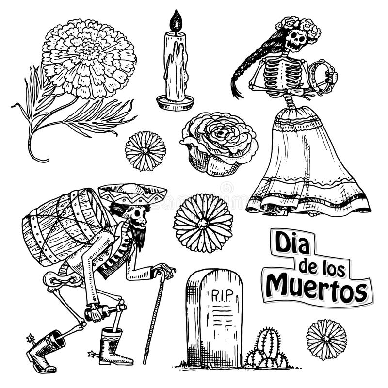 Day of the dead. Mexican national holiday with the original inscription in Spanish Dia de los Muertos. Skeletons with royalty free illustration