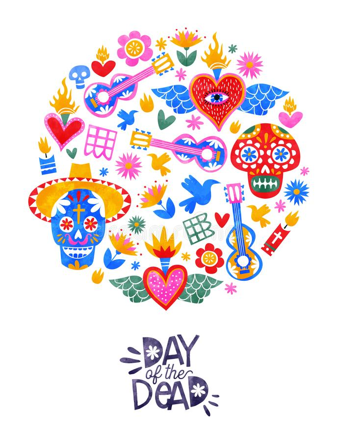 Day of the dead mexican sugar skull icon card. Day of the dead greeting card, traditional mexico culture icons in colorful watercolor art style. Includes sugar royalty free illustration
