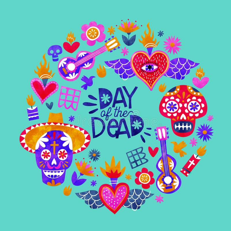 Day of the dead mexican sugar skull icon card. Day of the dead greeting card, traditional mexico culture icons in colorful watercolor art style. Includes sugar vector illustration