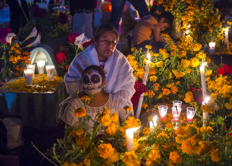 Day of the Dead. OAXACA , MEXICO - NOV 02 : Unidentified people on a cemetery during Day of the Dead in Oaxaca, Mexico on November 02 2015. The Day of the Dead stock photography