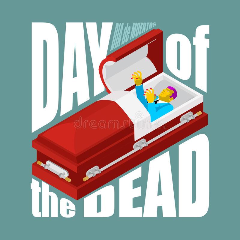 Day of the Dead. Open coffin. departed zombie in casket. Mexican. Traditional religious holiday. National celebration in Mexico. Dea de los muertos card and royalty free illustration