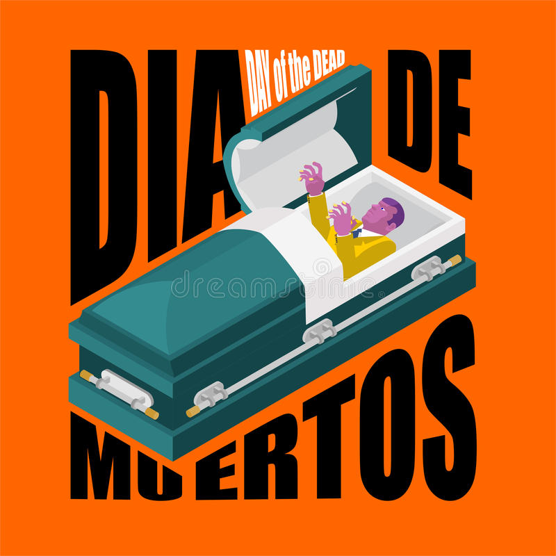 Day of the Dead. Open coffin. departed zombie in casket. Mexican. Traditional religious holiday. National celebration in Mexico. Dea de los muertos card and stock illustration