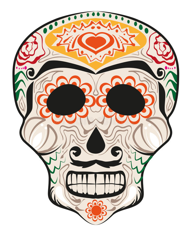 Day of Dead painted skull. Dia de Muertos translated from Spanish stock illustration