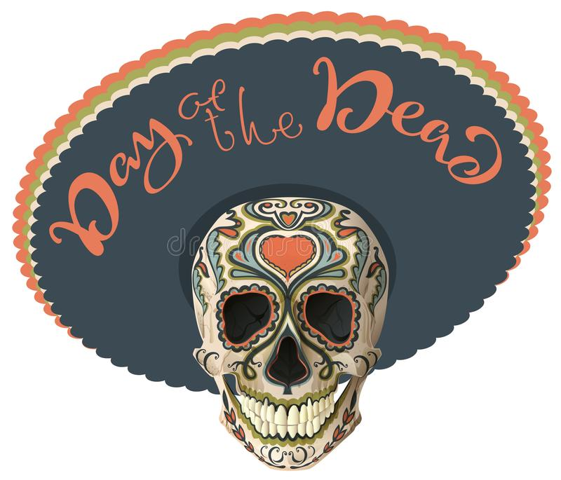 Day of the Dead. Painted skull in sombrero hat. Mexican holiday Dia de los Muertos. Lettering text greeting card royalty free illustration