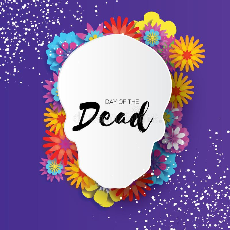 Day of the dead. Paper cut skull frame for text. Mexican celebration. Dia de muertos on purple. Origami cempasuchil. Flowers. Vector stock illustration
