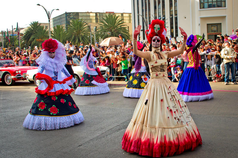 Day of the dead parade in Mexico city. stock images