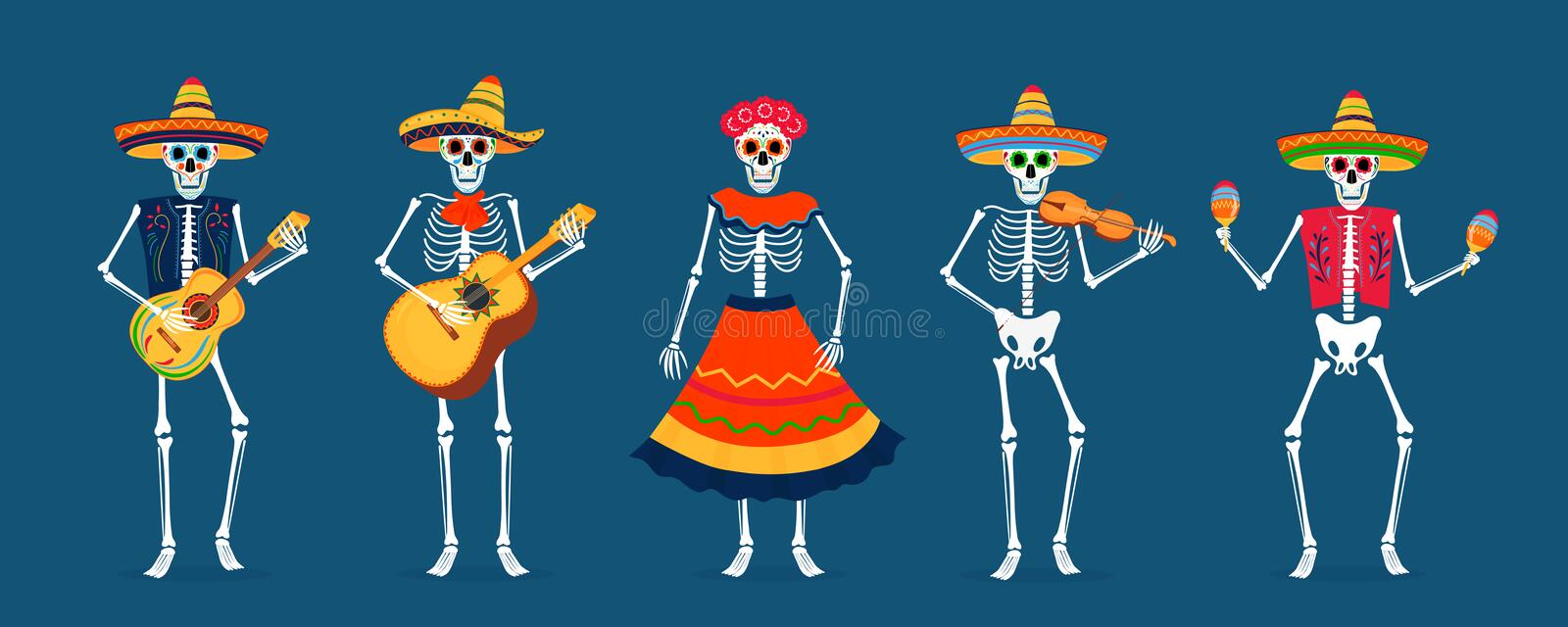 Day of the dead party. Dea de los muertos card. Painted skeletons play musical instruments and dance. Invitation poster to the Day of the dead party. Dea de los royalty free illustration