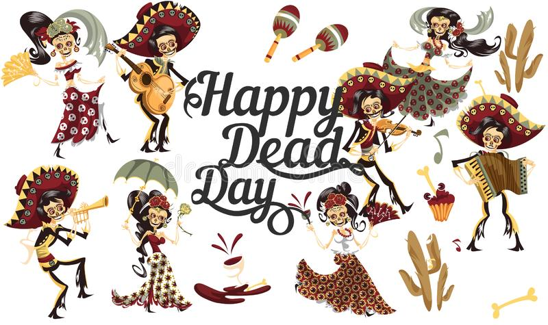 Day of the dead people skeletons party poster royalty free stock photography