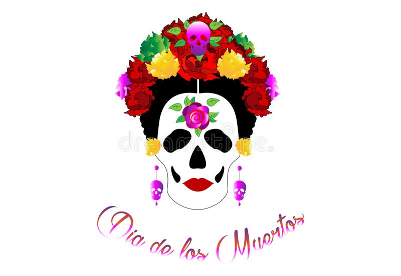 Day of the dead, portrait of Mexican Catrina with skulls and red flowers , inspiration Santa Muerte in Mexico and la Calavera. Illustration isolated stock illustration