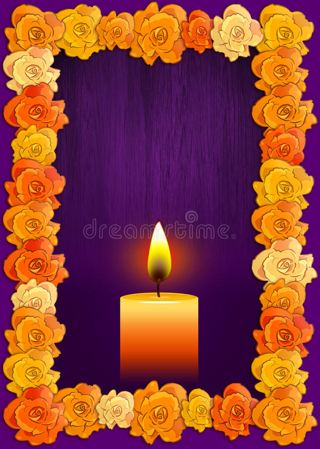 Day of the dead poster with traditional cempasuchil flowers used for altars. And candle, Mexican holiday background stock illustration