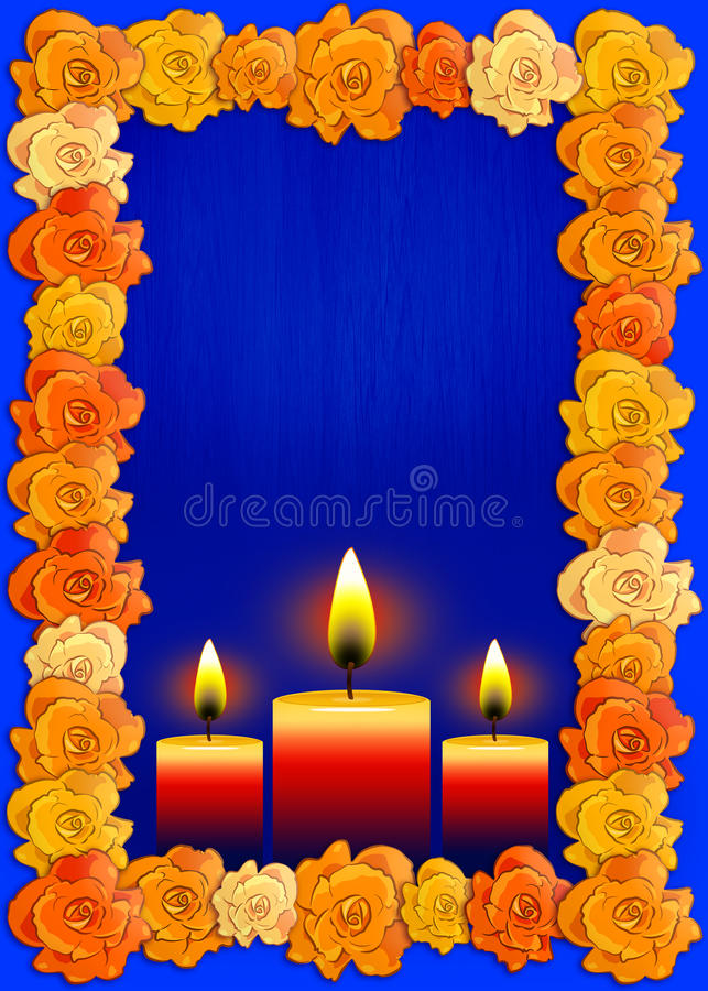 Day of the dead poster with traditional cempasuchil flowers used for altars and candles. Mexican holiday background vector illustration