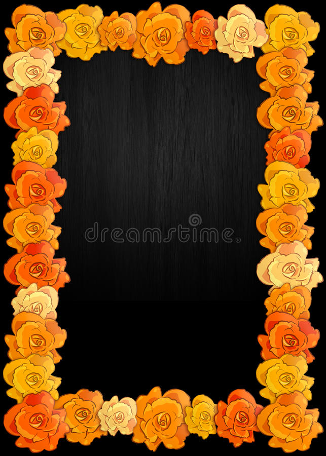 Day of the dead poster with traditional cempasuchil flowers used for altars. Mexican holiday background royalty free illustration