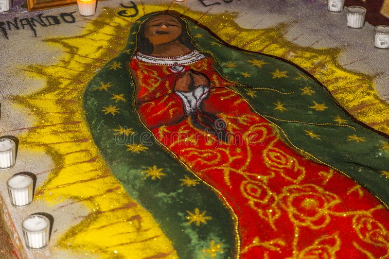 Day of the Dead Sand Painting. A gravesite decorated with a sand painting during Day of the Dead celebrations in Oaxaca, Mexico stock image
