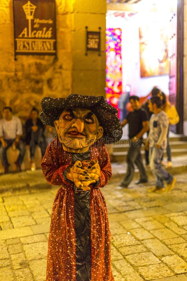 Day of the Dead Scary Costume. A child dressed up as a scary character during Day of the Dead celebrations in Oaxaca, Mexico stock image