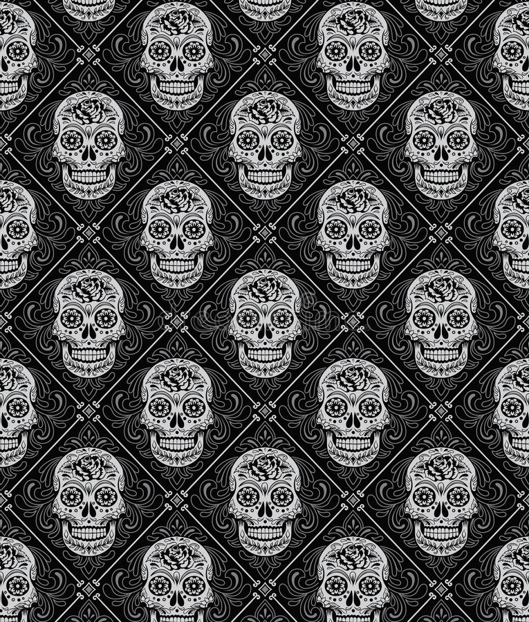 Day of the Dead Seamless Pattern royalty free illustration