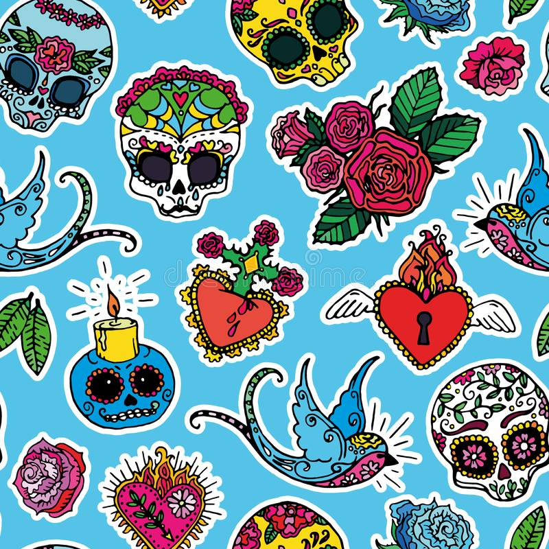 Day of the Dead seamless pattern vector illustration
