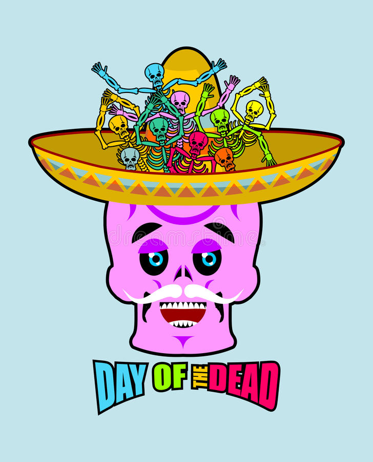 Day of the Dead skeletons and sombrero. Multi-colored skull in M stock illustration