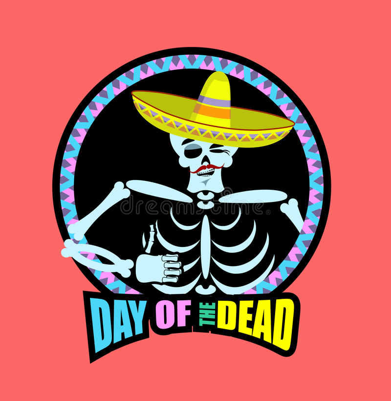 Day of the Dead skeletons and sombrero. Multi-colored skull in M vector illustration
