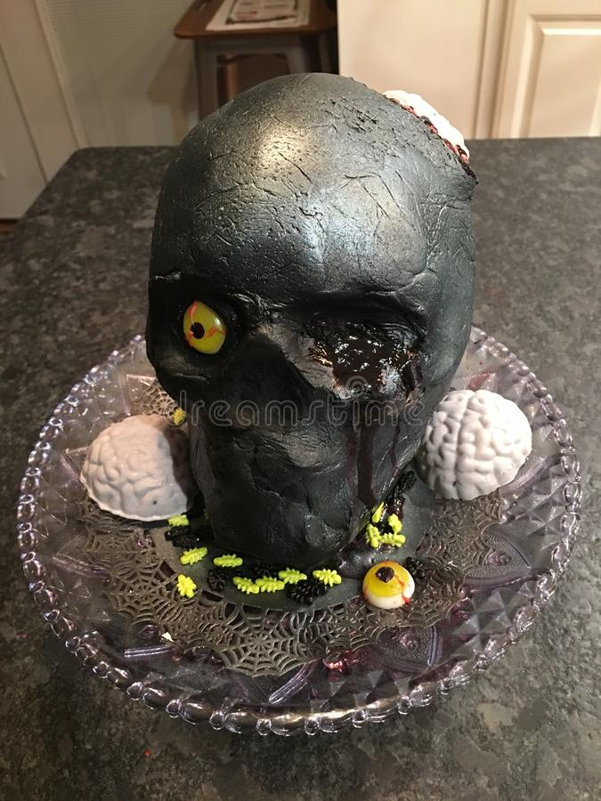Day of the dead skull cake. For Halloween royalty free stock images