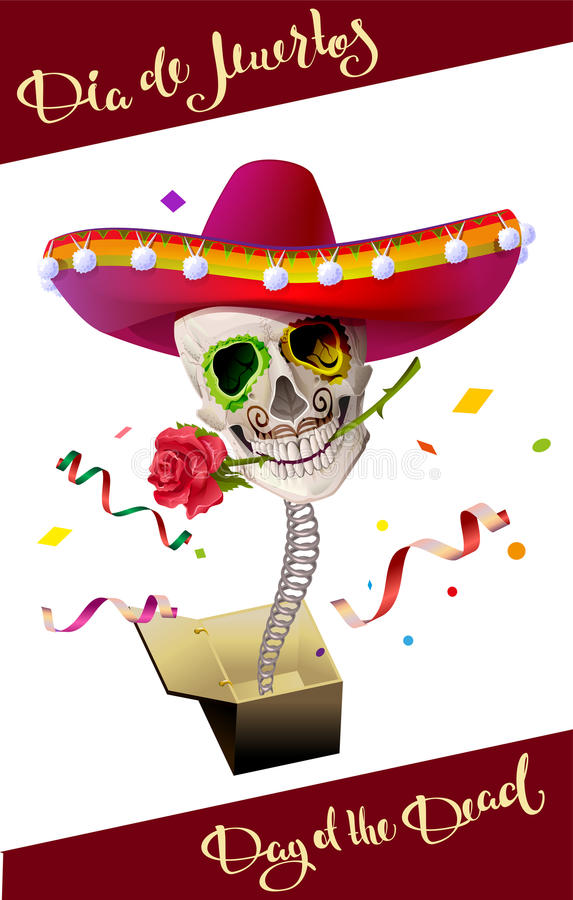 Day of the Dead. Skull Mexican Hat. Dia de Muertos royalty free illustration