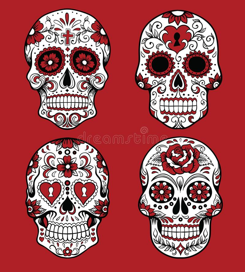 Collection of day of the dead skull vector illustrations. Day of the dead skull vector illustration set Day of the dead skull vector illustration set stock illustration