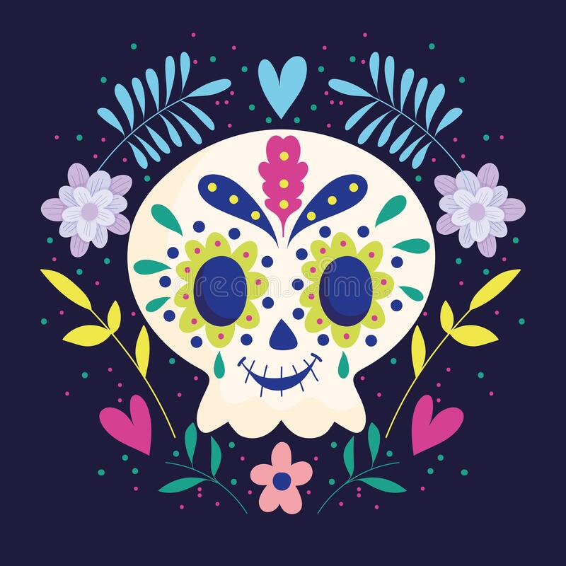 Day of the dead, skull with wreath of flowers traditional mexican celebration. Vector illustration vector illustration